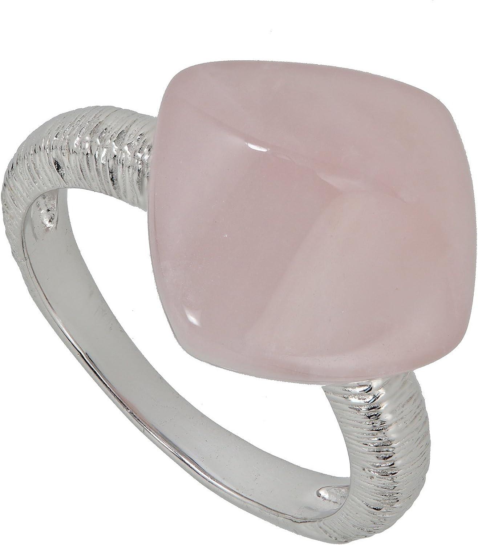 Yvesse Design - Anillo para mujer de plata de ley 925 rodiada, cuarzo rosa