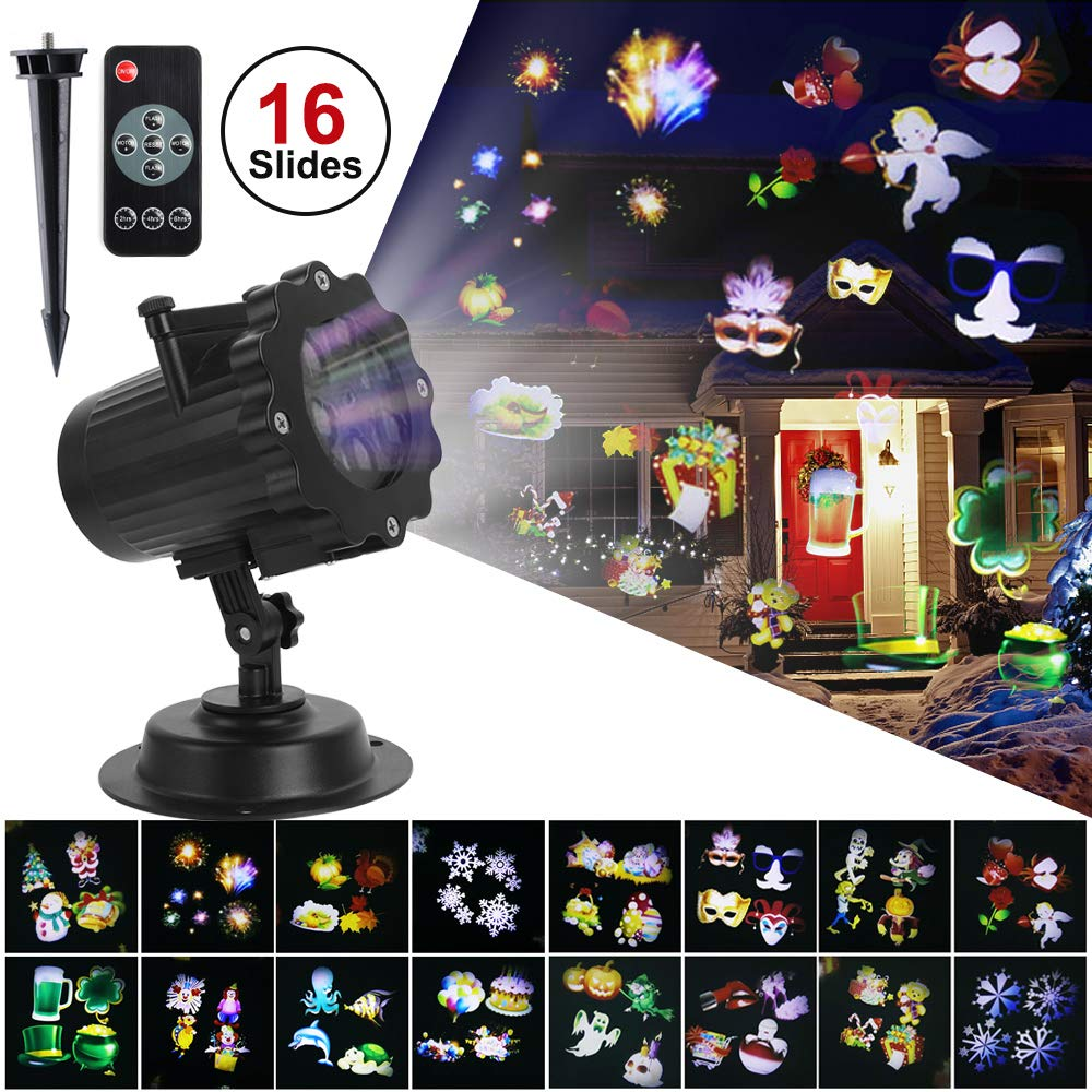 Christmas Decoration Halloween Projector Lights, Waterproof Indoor Outdoor Decorative LED Landscape Projector 16 Slides Patterns Lights with Remote Control for Halloween, Birthday Party Home Garden Wall Decor Dripex