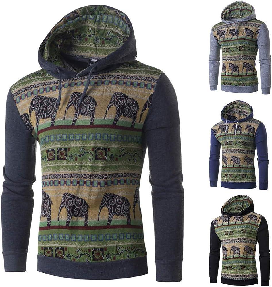 Casual Hoodie,Mens Autumn Winter National Style Print Long Sleeve Hoodie Top Blouse for Men Teen Boys