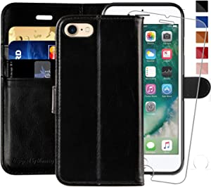 MONASAY iPhone 6 Wallet Case/iPhone 6s Wallet Case,4.7-inch, [Glass Screen Protector Included] Flip Folio Leather Cell Phone Cover with Credit Card Holder for Apple iPhone 6/6S (Black)