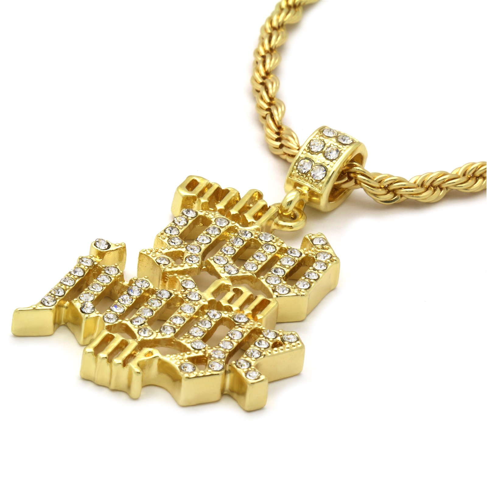 """14k Gold Plated Cz Only God Can Judge Me Hip Hop Pendant 24"""" Rope Chain"""