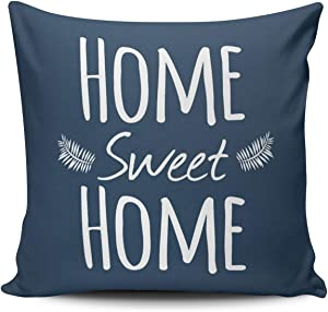 XIUBA Throw Pillow Covers Case Navy and White Home Sweet Home Typography Decorative Pillowcase Cushion Cover 16 x 16 inch Square Size One Side Design Printed ¡