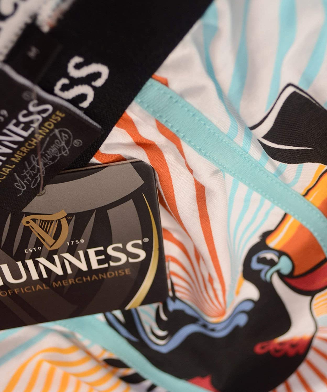 100/% Cotton Guinness Toucan Design Boxers With Black Elastic Waist