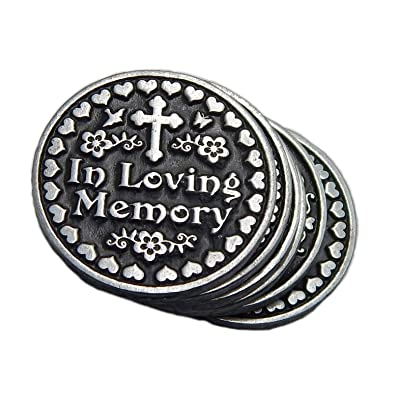 Six (6) in Loving Memory Pocket Token Coins - Set of 6 Remembrance Memorial Tokens - Gone Yet Not Forgotten in Organza Bag: Home & Kitchen [5Bkhe0205692]