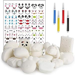 MALLMALL6 Random 20Pcs DIY Slow Rising Jumbo Miniature Novelty Set White Mini Cream Scented , Kawaii Soft Food Squeeze Toys with Stickers and Colored pens as Keychain Phone Straps Bonus Educa