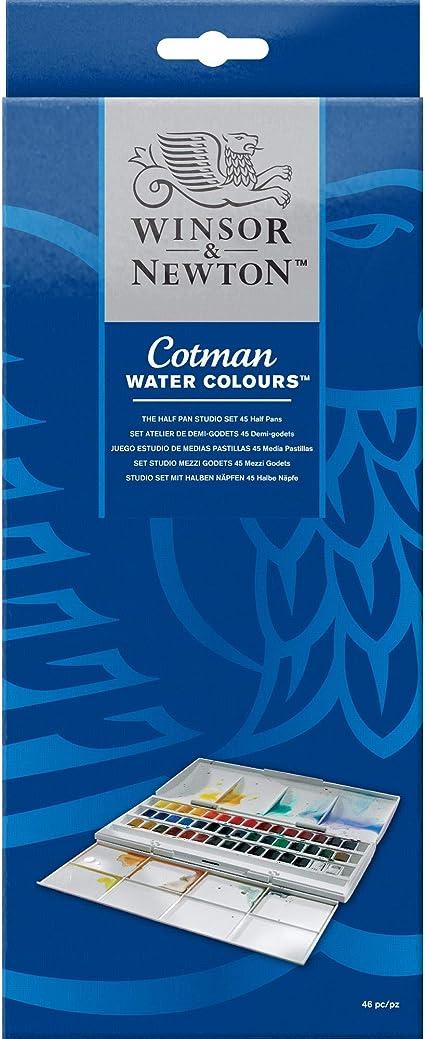 Winsor Newton Cotman Watercolor Studio Set 45 Half Pans Amazon