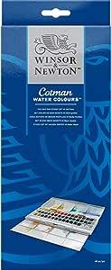 Winsor & Newton Cotman Water Colour Paint Deluxe Sketchers' Pocket Box, Set of 16, Half Pans 45 Half Pans