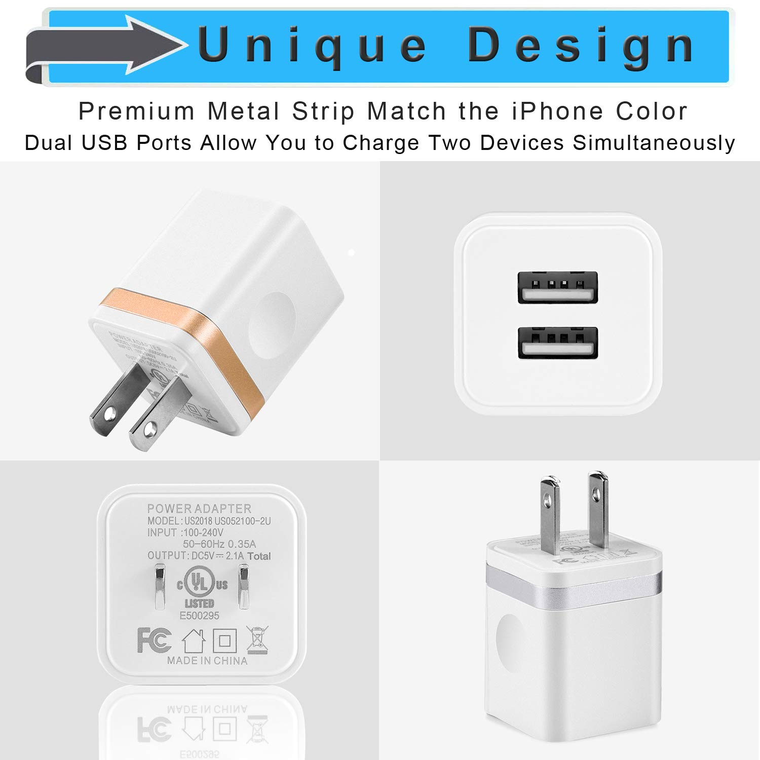 LEEKOTECH USB Wall Charger, [UL Certified] 3-Pack 2.1A USB Plug Dual Port Power Adapter Charging Block Cube for iPhone X 8 7 6 Plus 4 5S, iPad, Samsung Galaxy S5 S6 S7 Edge, Android Cell Phone by LEEKOTECH (Image #4)