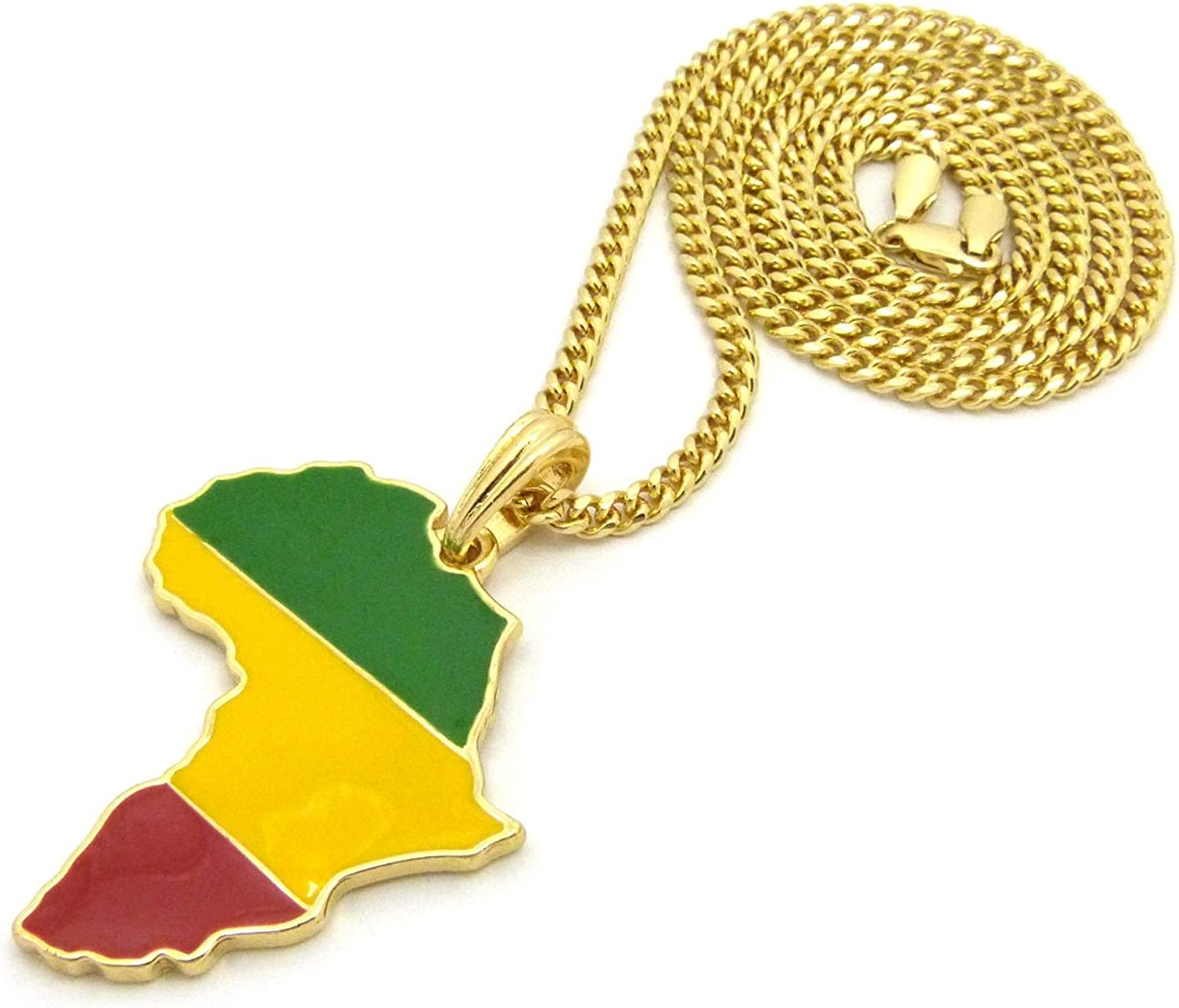 NYFASHION101 Pan Africa Colored Flag Africa Continent Pendant w//Gold-Tone Necklace