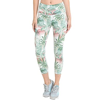 Mono B Womens Tropical Print Highwaisted Capri Leggings at ...