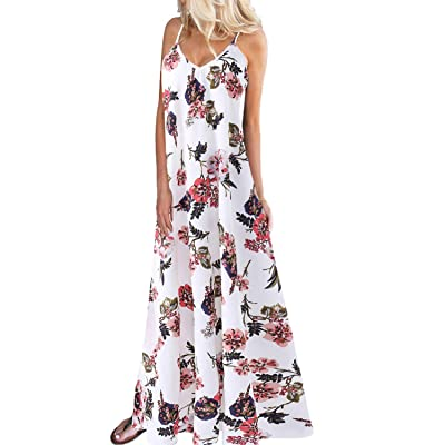 Kidsform Women's Boho Maxi Dress Sleeveless Summer Floral Solid Spaghetti Strap Casual Loose Beach Dress at Women's Clothing store