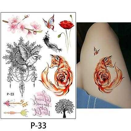 Amazon Com S24 Flower Bird Decal 1pc Fake Women Men Diy Henna Body