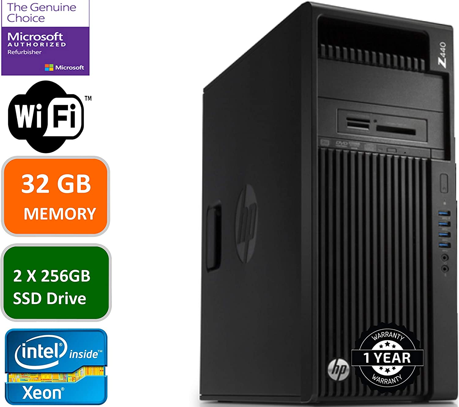 HP Z440 Business Workstation Desktop PC: Intel Xeon E5-1620-3.5 GHZ, 2 X 256GBSSD HDD, 32GB Memory, NVIDIA Quadro K2200, DVD-RW, Windows 10 Pro (Renewed)
