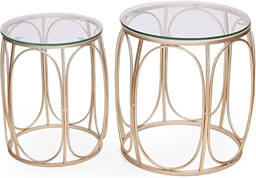 Decent Home Luxury Stool Coffee Accent Metal Nesting Side End Table Night Stand Set of 2 A