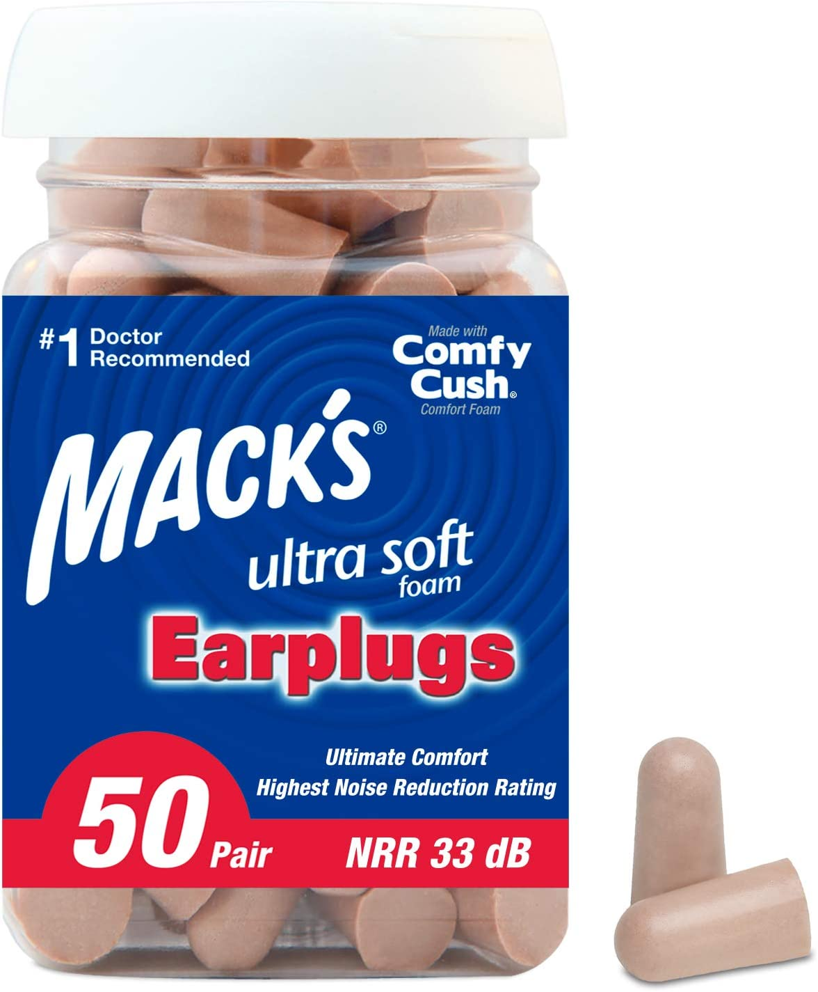 Mack's Ultra Soft Foam Earplugs, 50 Pair - 33dB Highest NRR, Comfortable Ear Plugs for Sleeping, Snoring, Travel, Concerts, Studying, Loud Noise, Work: Health & Personal Care