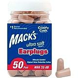 Mack's Tampões de ouvido de espuma ultramacia, 50 pares – NRR mais alto de 33 dB, protetores auriculares confortáveis para do