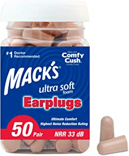 product image for Mack's Ultra Soft Foam Earplugs, 50 Pair - 33dB Highest NRR, Comfortable Ear Plugs for Sleeping, Snoring, Travel, Concerts, Studying, Loud Noise, Work
