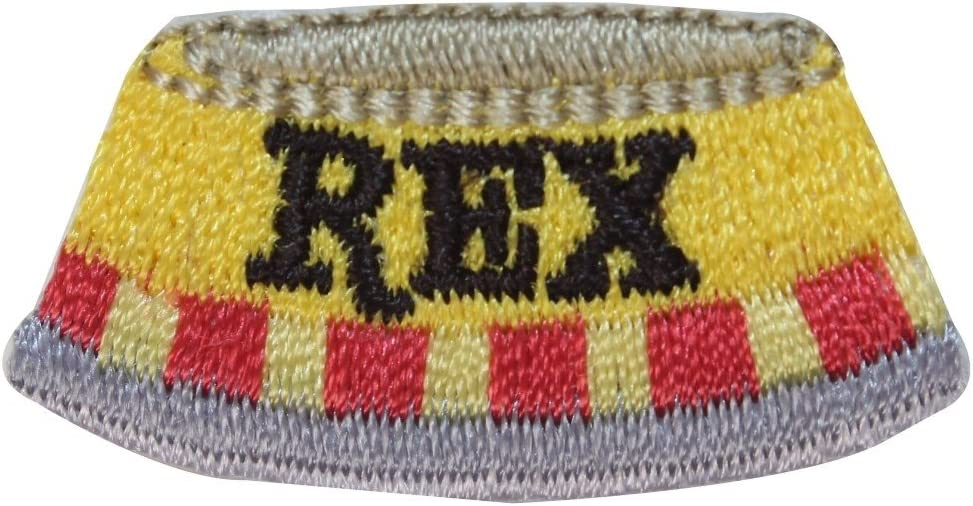 ID 2825 Rex Dog Food Bowl Patch Water Dish Pet Embroidered Iron On Applique