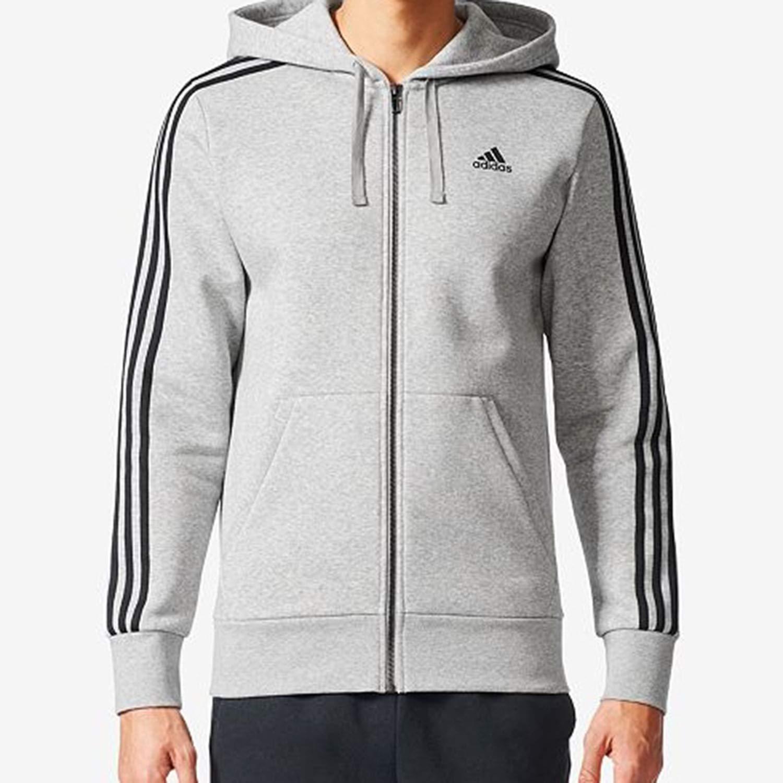 adidas 3- Stripes Men's Big and Tall Essential Hoodie Medium Grey Heather/Black br3222 (Size 2XLT)