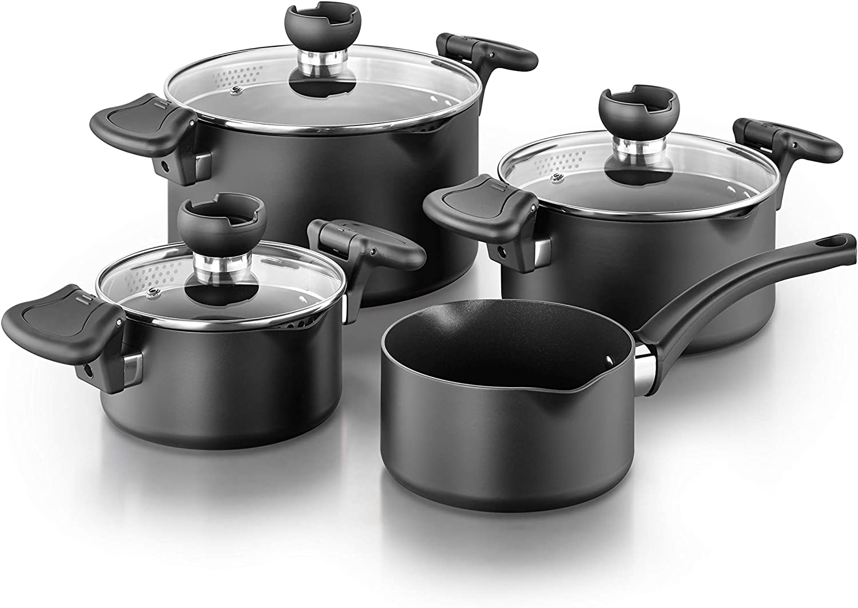 Kopf Set de casseroles NELA en Aluminium Batterie de Cuisine /à Induction avec auxiliaire de versement Intelligent 7 pi/èces casseroles 3X avec Couvercle en Verre et 1x cocotte