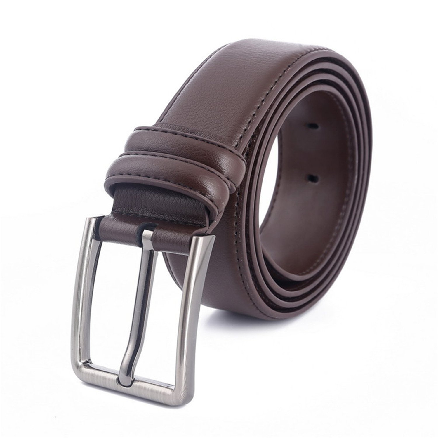 Coffee Thadensama New Fashion Mens Pin Buckle Belt Genuine Leather Belts For Women Couples Unisex Red Belt