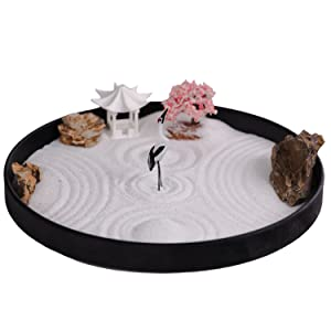 ICNBUYS Zen Garden Crane, Pavilion and Sakura Set with Free Rakes and Pushing Sand Pen Base Tray Diameter 9.4 inches