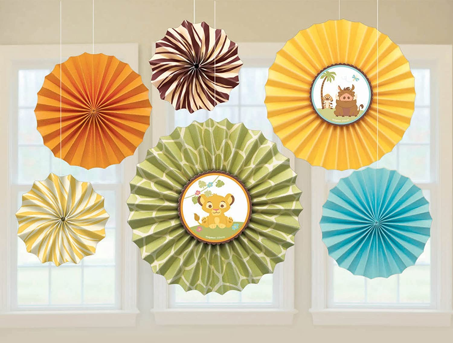 Amazon.com: Baby Lion King U0027Sweet Circle Of Lifeu0027 Paper Fan Decorations  (6ct): Toys U0026 Games