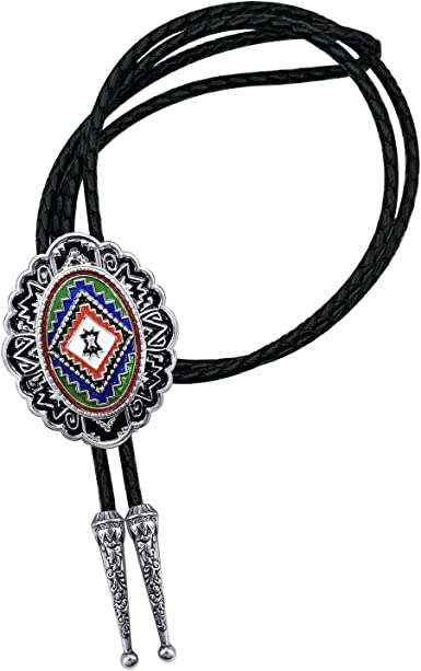 YOQUCOL Vintage American Western Cowboy Indian Art Tribal Totem Genunie Leather Bolo Tie For Men Women