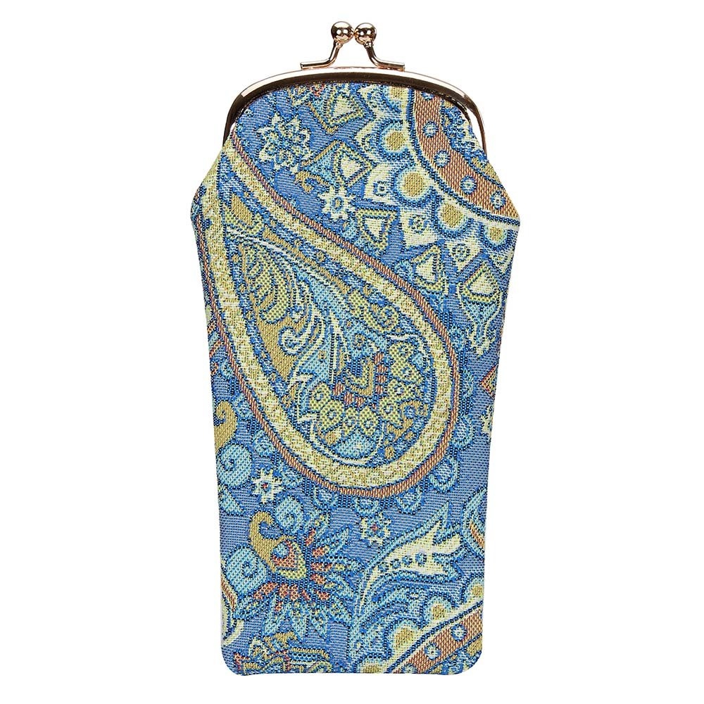 Signare Tapestry Women Glasses Pouch Sunglasses Reading Eyeglass Storage Case with Paisley in Blue (GPCH-PAIS)