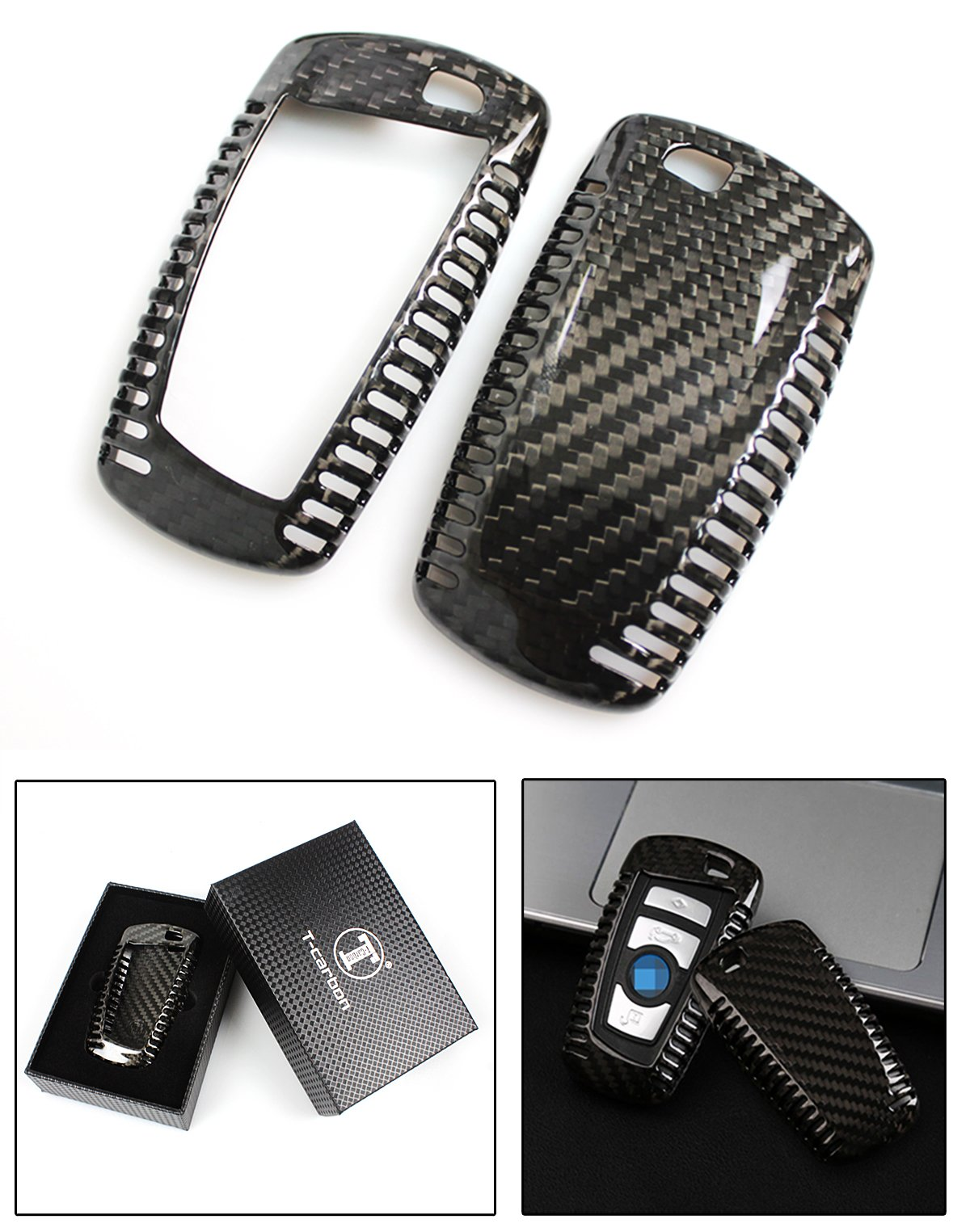 Luxury Carbon Fiber Key Protective Hard Case Cover for BMW Leyless Entry Smart Fob
