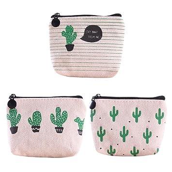 AOLVO 3Pcs Billetera Monedero Carteras de Lona de Patrón de Cactus, Cosmetiquera Paquete de Tarjeta Clave para Mujer y Niño: Amazon.es: Hogar