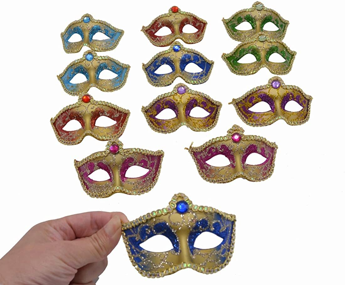 12PCS Mini Masks Party Decoration for Halloween Luxury Gemstone Supper Small Masks Party Table Decoration Cupcake Topper