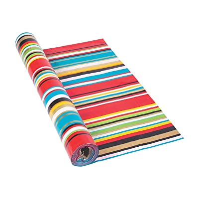 "Fun Express Bright Color Fiesta Serape Tablecloth Roll (40"" x 100ft.) Cinco de Mayo Party Fiesta Table Cover: Home & Kitchen"