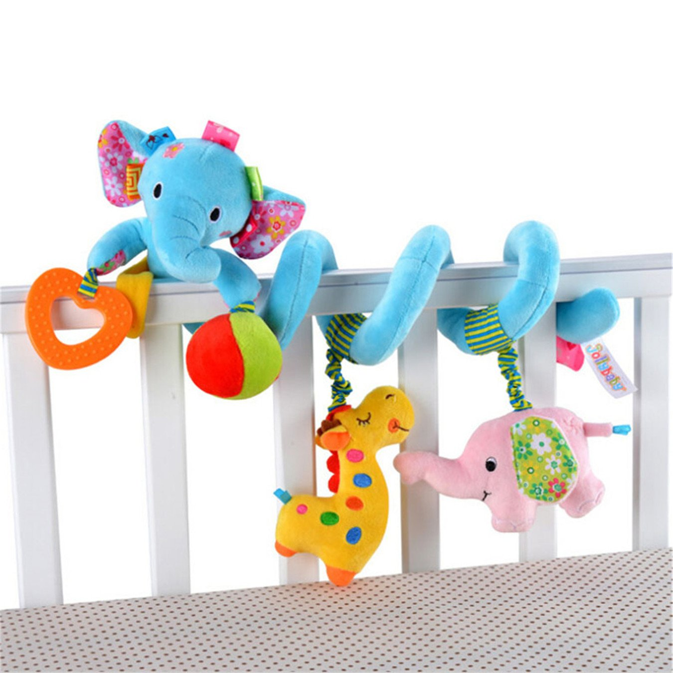 Baby Toddler Car Bed Stroller Hanging Animal Blue Elephant Spiral Activity Toys by CH   B01EFQ822M