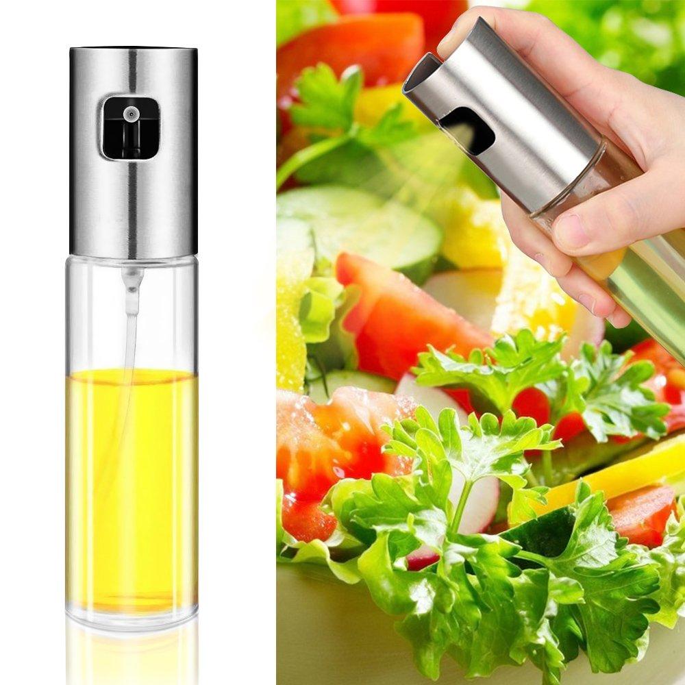 Olive Oil Sprayer Glass Bottle Food-grade Cooking Sprayer Oil Mister Pump Oil Dispenser for Kitchen, BBQ, Frying,Salad,Baking (3.42 oz)
