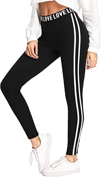 SweatyRocks Leggings for Women Workout Yoga Leggings High Waist Striped Side Jogger Pants