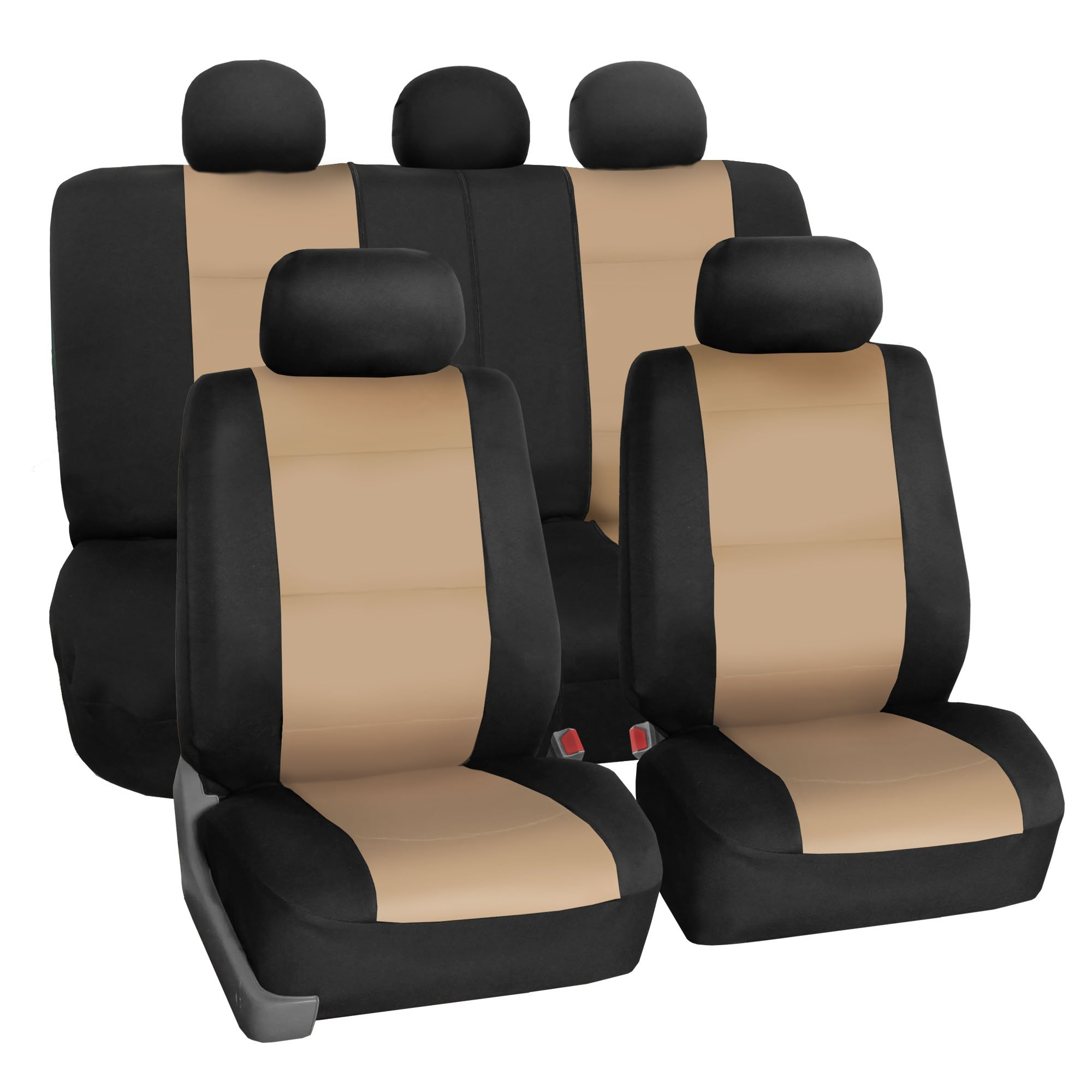 FH Group FB083BEIGE115 Full Set Neoprene Seat Cover Semi-Universal (Neoprene Waterproof Airbag Compatible Split Bench Beige) by FH Group