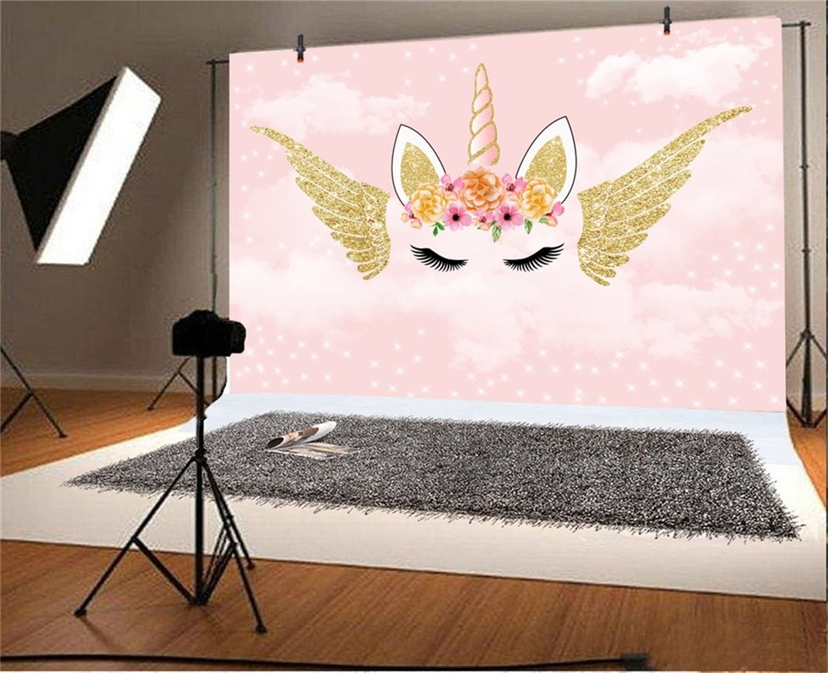 AOFOTO 5x3ft Cartoon Angel Unicorn Background Abstract Wings Horn Corner  Eyelash Baby Girl Happy Birthday Party Decoration Photography Backdrop  Dreamy