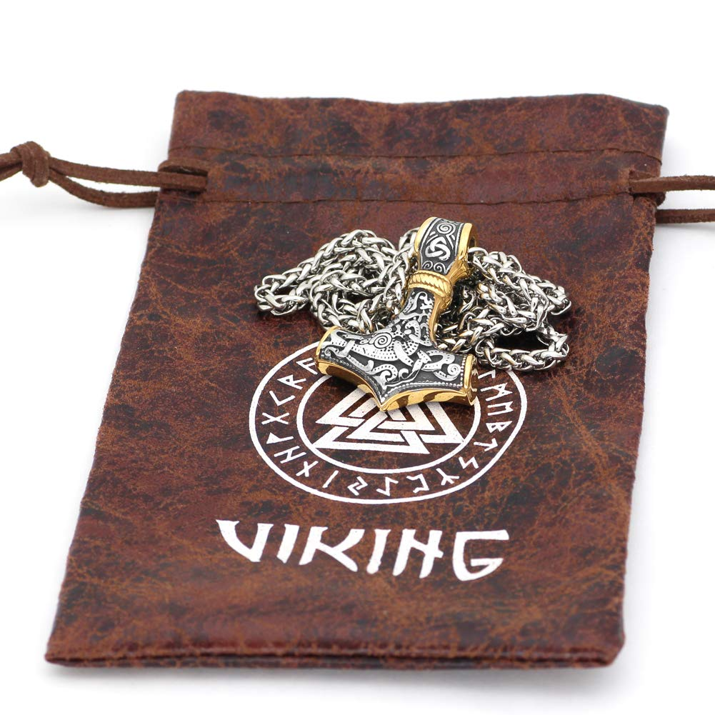 GuoShuang Viking Collar con Colgante de Acero Inoxidable 316L con dise/ño de Martillo de Thor Mjolnir