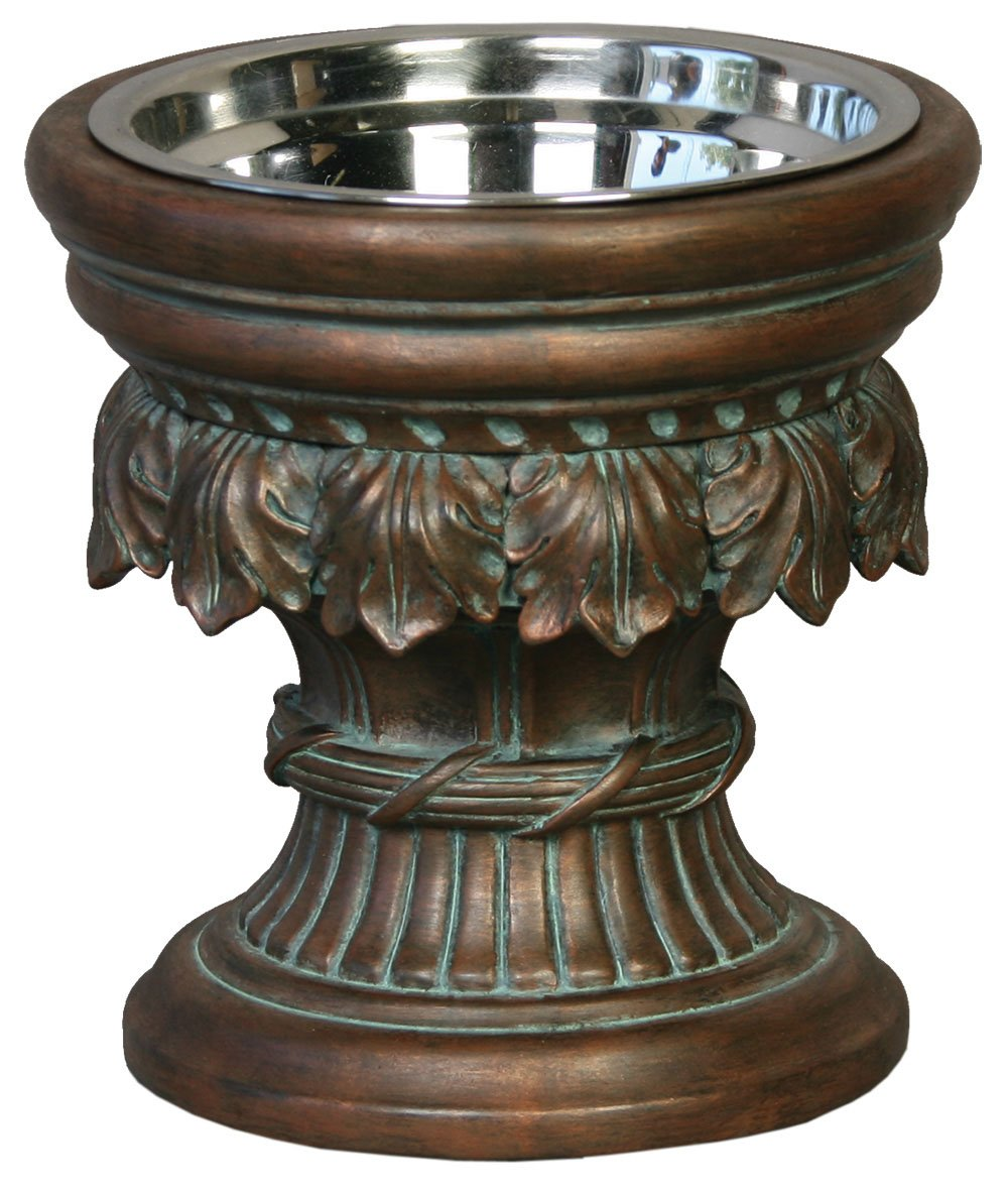 Unleashed Life Baroque Collection Raised Feeder in Oxidized Copper, Medium