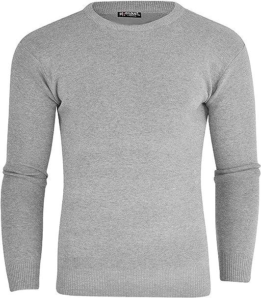 New Mens Long Sleeve Crew Neck Sweater Jumper Sweatshirt Plain Top