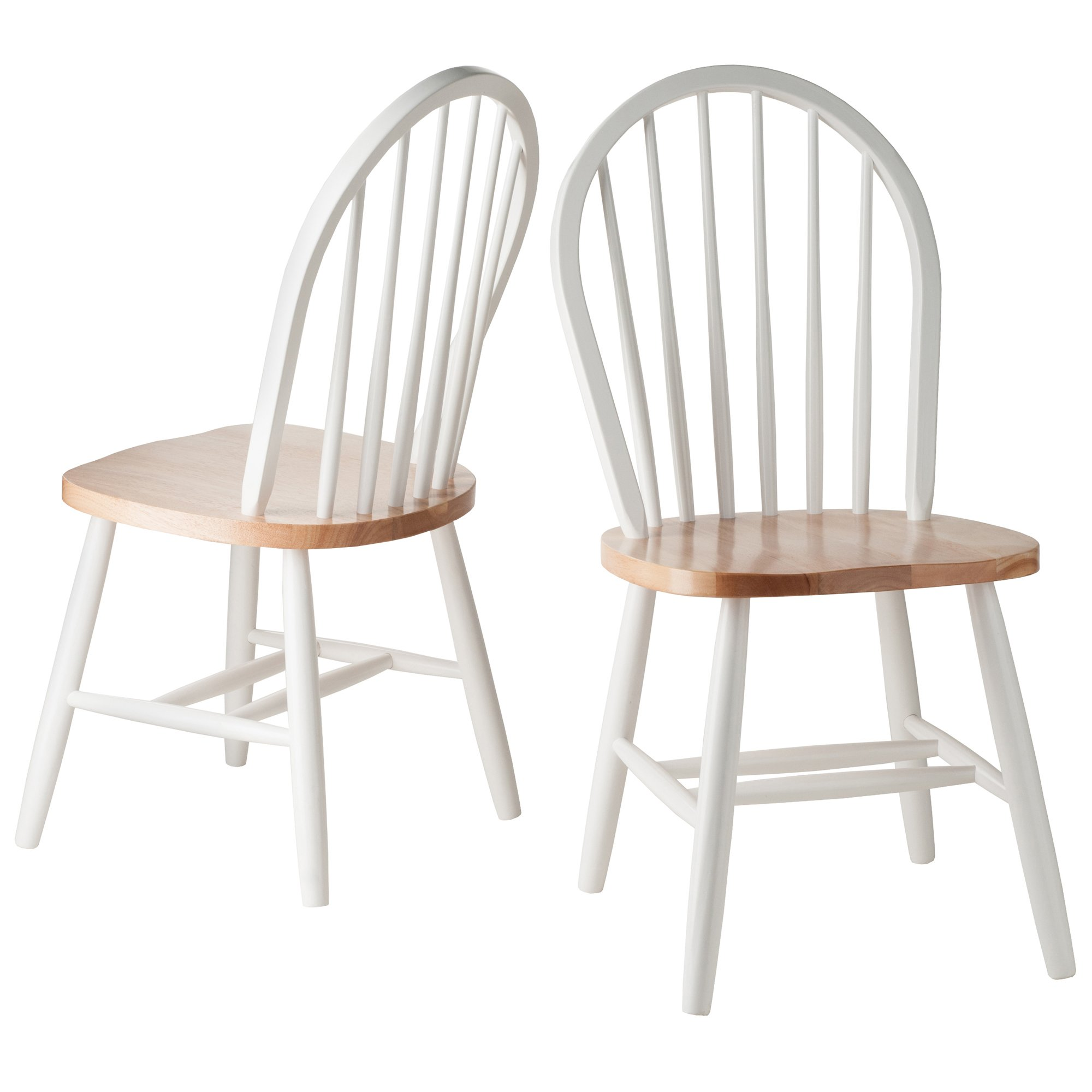 Winsome Wood Windsor Chair In Natural And White Finish, Set Of 2