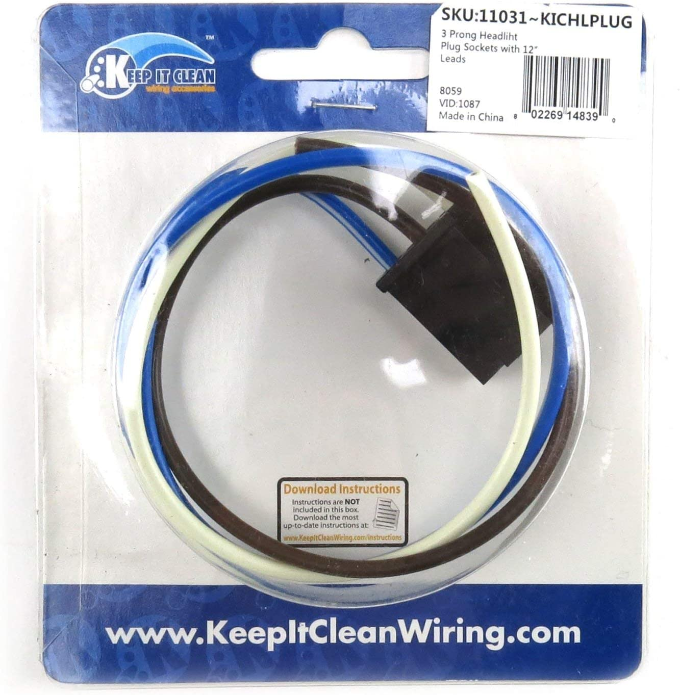 Keep It Clean 11031 3 Prong Headlight Plug Socket with 12 Leads
