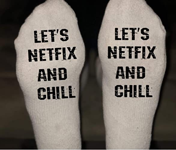 Amazon Netflix And Chill Socks Great Gift Christmas Son Husband Mom Dad Boyfriend Girlfriend Birthday Handmade