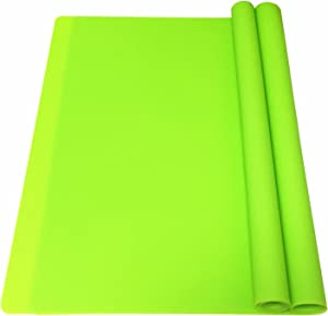 EPHome 2Pack Extra Large Multipurpose Silicone Nonstick Pastry Mat, Heat Resistant Nonskid Table Mat Countertop Mat, 23.6''x15.75'' (Green)