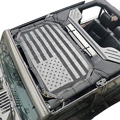 cartaoo Sunshade Mesh UV Protection Bikini Top Cover Net for 2007-2020 Jeep Wrangler JK JKU 4-Door Version (JK 2-Door / 4-Door National flag): Automotive