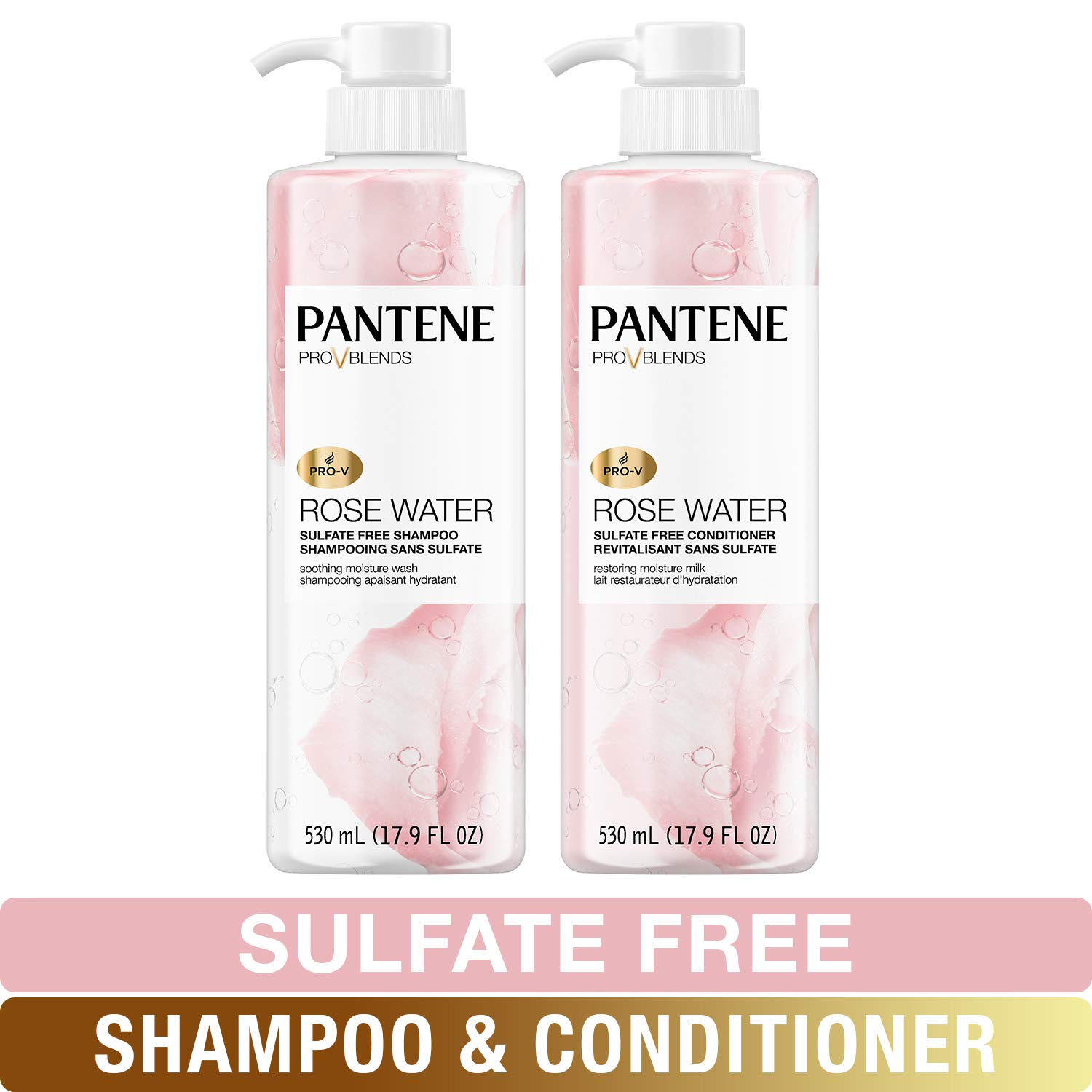 Pantene, Shampoo and Sulfate Free Conditioner Kit, Paraben and Dye Free, Pro-V Blends, Soothing Rose Water, 17.9 fl oz, Twin Pack