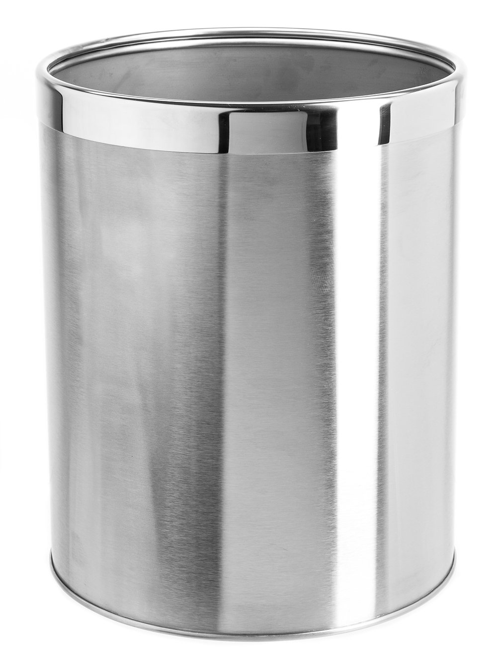 Bennett ''Detach-A-Ring'' Trash Can, Small Office Stainless Steel Wastebasket, Modern Home Décor, Round Shape (Dia. 9.6 x H11.8)