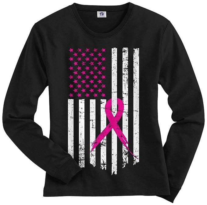 20052339 Threadrock Women's Pink Ribbon Breast Cancer Awareness Flag Long Sleeve T- Shirt S Black