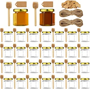 30pcs 1.5oz Mini Honey Jars with Lids, Hexagon Glass Spice Jars Mini Honey Bottle with 30pcs Honey stick, 100pcs Kraft paper tag, 2 bundles of hemp rope, for Wedding Party Favors, DIY and More